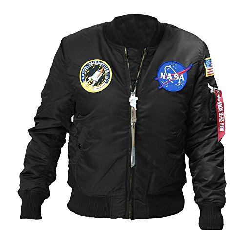 Alpha Industries Herren Bomberjacke MA-1 VF Nasa, Schwarz (Black 03), Medium