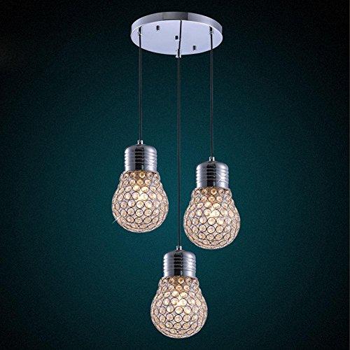 BJVB K9 cristallo Ciondolo lampada camera da letto moderna scala LED soffitto illuminazione lampade e in acciaio inox cromato circolare 3lights base lampada da soffitto in cristallo Lampadine
