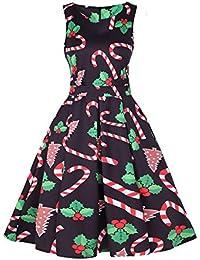 Riou Weihnachten Kleid Abendkleid Damen Elegant Knielang Sexy Rock Santa  Grosse grössen 1950er Jahre Retro Ärmelloses 35edc1e243