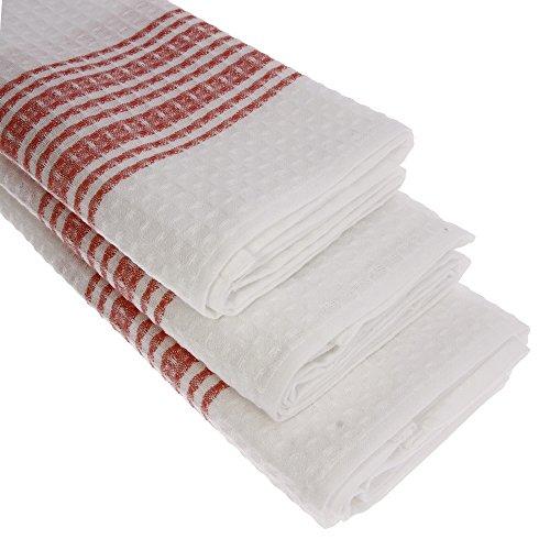 Piquee-Geschirrtuch, in Gastro-Qualität, 100% Baumwolle, 70x50 cm, hochwertiges Waffelpikee, Farbe: rot / weiss