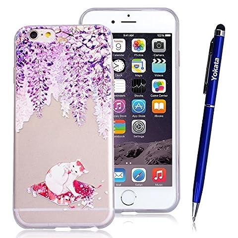 Yokata iPhone 6 / iPhone 6s Hülle Transparent Weich Silikon TPU Case Handyhülle Schutzhülle Durchsichtig Clear Backcover Bumper mit Lila Chinchilla Muster + 1 x Kapazitive Feder