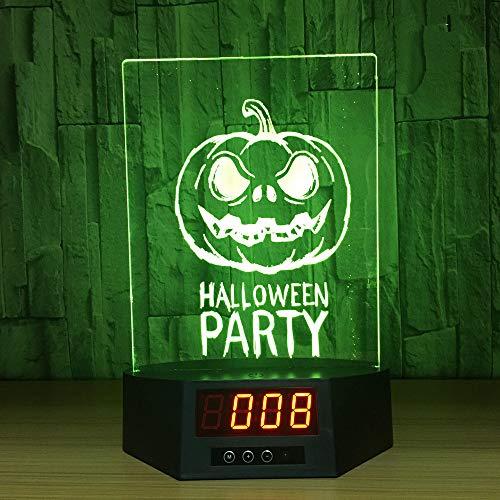 Illusion Kalender Uhr Lampe 7 Farben Ändern GRB USB Nachtlichter Halloween Party Decor Beleuchtung Wohnkultur ()