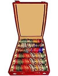 Sarohi 6 Roll Rod Wooden Velvet Bangles Box
