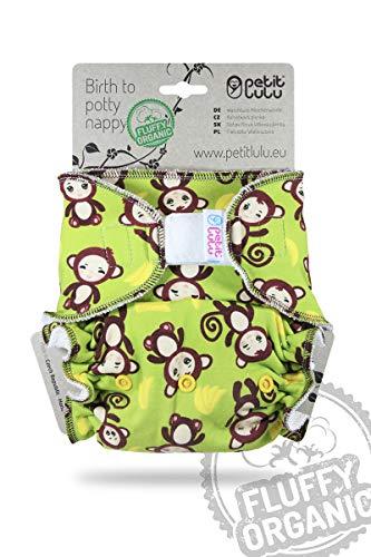 Petit Lulu Couche ajustée en bambou Taille unique - Velcro - Bio moelleux - Réutilisable et...