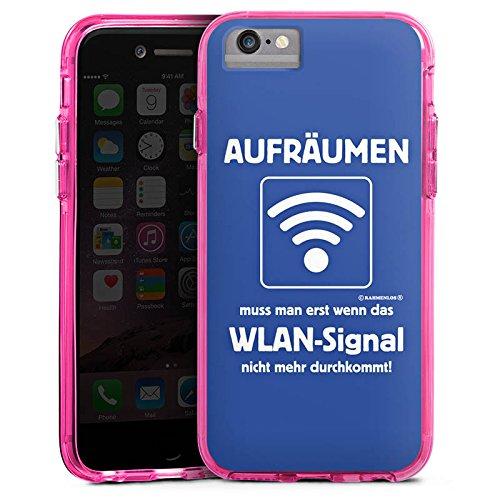 Apple iPhone 6s Plus Bumper Hülle Bumper Case Glitzer Hülle Wlan Lustig Funny Bumper Case transparent pink