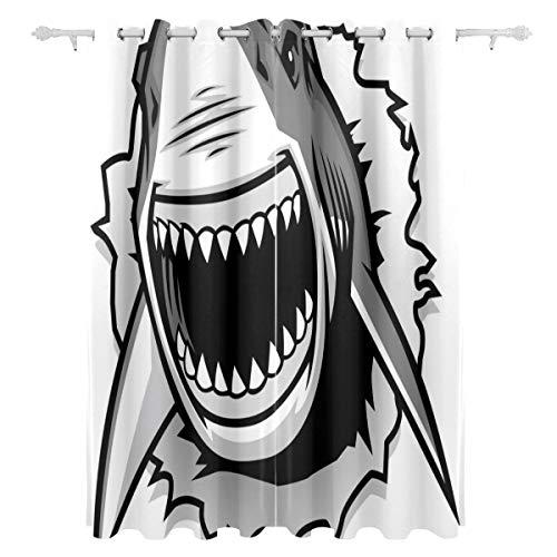 KAOROU Großer Schwimmenhaifisch im Meer dekorativ hängenden 2 Panel-Set gedruckt Blackout Fenster Vorhänge für Schlafzimmer Wohnzimmer Esszimmer Fenster drapiert 54x84 Zoll Vorhang