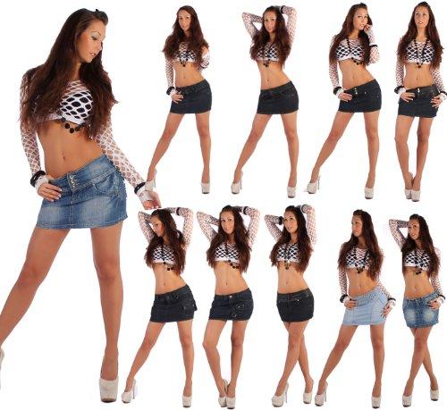 Damenrock Jeans Minirock Mini Rock Jeansrock Gogo Damenrock Leder-Optik XS/34-XL/42 Modell3