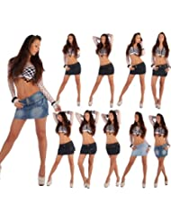 Damenrock Jeans Minirock Mini Rock Jeansrock Gogo Damenrock Leder-Optik XS/34-XL/42