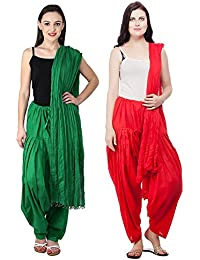 Fashion Store Patiala Salwars And Dupatta Set Combo Of 2(Free Size,Red & Green)