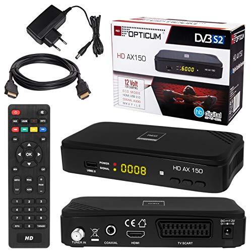 SATELLITEN SAT Receiver ✨ HB DIGITAL Set: Hochwertiger DVB-S/S2 Receiver mit PVR Funktion Aufnahmefähig + HDMI Kabel vergoldet (HD Ready HDTV HDMI SCART USB Koaxial Ausgang Opticum AX150 )