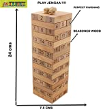 FRATELLI 48 Pcs Blocks Wooden Tumbling Stacking Jenga Building Tower Game