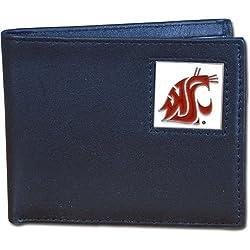 Washington St. Cougars Leather Bi-fold Wallet