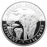 1 Kg Somalia 2015 African Wildlife Elefant 1 Kilo 999,9 Silber