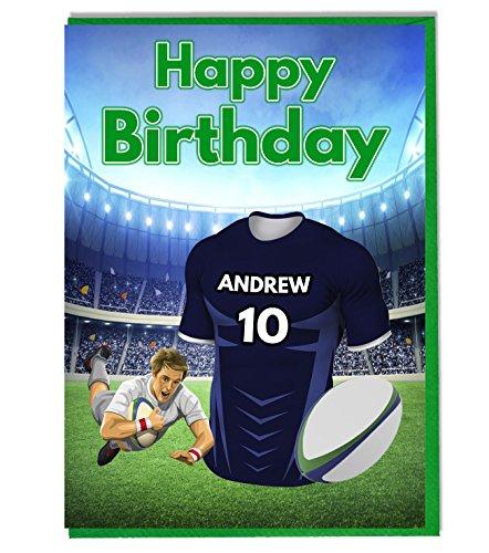 Rugby T-Shirt zum Geburtstag-CASTRES -, personalisiert mit Name und Nummer, Schwarz - Personalisierte Geburtstags-shirt
