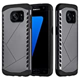 Cadorabo Hülle für Samsung Galaxy S7 Edge - Hülle in Guardian GRAU – Hard Case TPU Silikon Schutzhülle für Hybrid Cover im Outdoor Heavy Duty Design