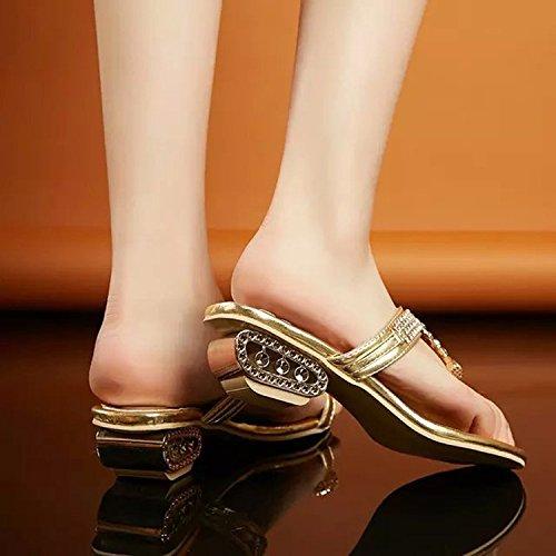 ZYUSHIZ Mme Sandales High-Heel Le premier champ Chaussons Texte gras avec des sandales d'été 34EU