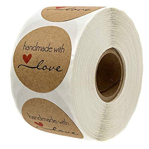 Homeofying 500 Stück 1 Rolle Cartoon Handarbeit mit Liebe Runde Back-Aufkleber selbstklebend Etikett Dekoration für selbstgemachte Geschenke 1