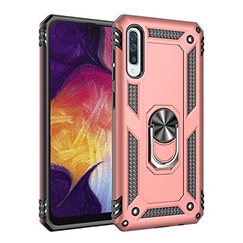 Kompatibel mit Galaxy A50 Hülle Galaxy A70 Hart Schutz Rüstung Handyhülle Magnetische Autohalterung Anti-Rutsch Schutz Anti-Fingerabdruck Hardcase (Pink, Galaxy A50)