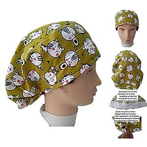 Chirurgische Kappe Frau Kätzchen für lange Haare, Chirurgie, Zahnarzt, Tierarzt, Küche usw. Handtuch vorne, perfekte Passform und passt alle Haare. Handmade