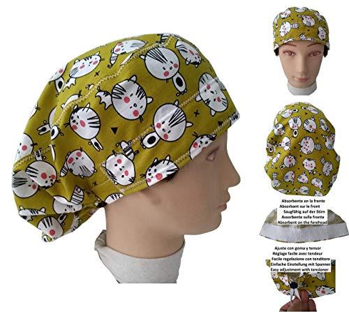 Chirurgische Kappe Frau Kätzchen für lange Haare, Chirurgie, Zahnarzt, Tierarzt, Küche usw. Handtuch vorne, perfekte Passform und passt alle Haare. Handmade (Caps Tierarzt)