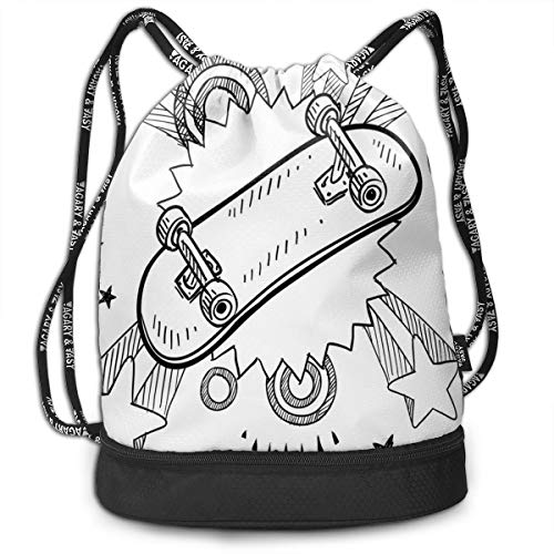 MLNHY Printed Drawstring Backpacks Bags,Sketch of A Skateboard with Sixties and Seventies Style Pop Art Inspired Background,Adjustable String Closure (Chicago-skateboard)