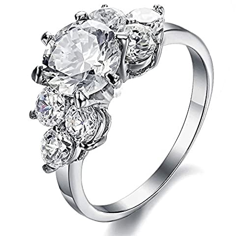 Singring Brand New Amazing Jewelry Three Stone Engagement Ring for Women Stainless Steel Finger Ring Bands Cubic Zirconia Cz Inlaid