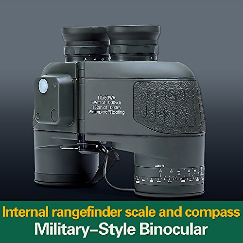 Buy USCAMEL® 10×50 HD Military Binoculars with Rangefinder Compass Telescope Nitrogen Filled Waterproof Sports Optics Army Green Online
