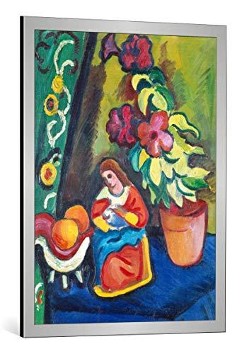 Kunst für Alle Cuadro con Marco: August Macke Stilleben mit Madonna Petunie und Äpfeln - Impresión artística Decorativa con Marco, 65x85 cm, Plata cepillada