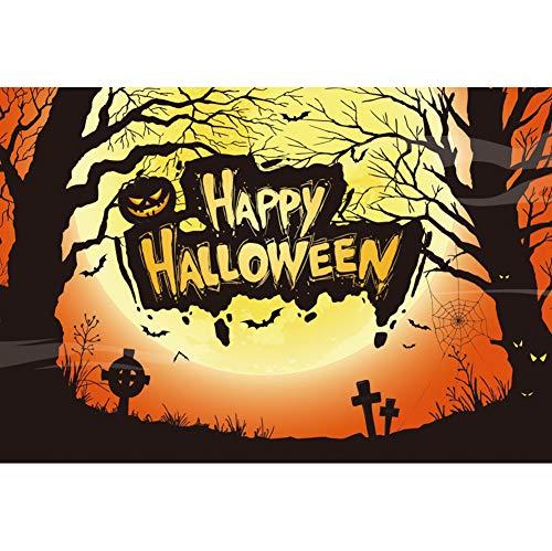 OERJU 1,5x1m Halloween Hintergrund Fröhliches Halloween Kürbis Verfallener Baum Fotografie Vollmond Grabstein Hintergrund Süßes oder Saures Halloween Party Dekoration Porträt Requisiten (Machen Halloween-dekoration Grabsteine)