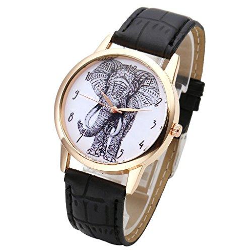 JSDDE Uhren,Vintage Damen Armbanduhr Skizze Elefant Zifferblatt Armbanduhr Leder Armband Analog Quarz Uhr,Schwarz - 2