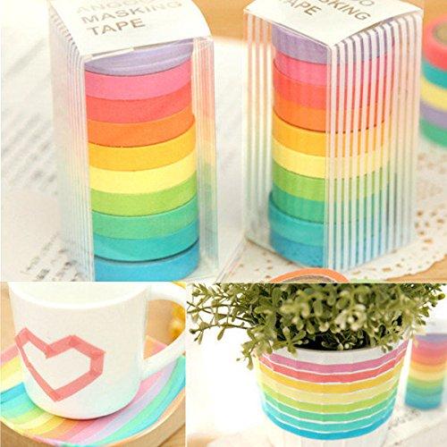 Moppi 10 rotoli di nastri di carta arcobaleno sticker adesivo decorativo colore della caramella per