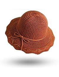 Fzwang Pescador Respirable Moda Grandes Aleros Plegable Mujer Sombrero  Sombrero Cien Vueltas Tejer Sombrero de Cuenca 40b34309b89