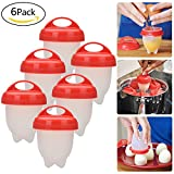 Lynlon 6er Eierkocher, BPA-frei Keine Schale, Antihaft-Silikon, Egg Cooker Wilderer, Gekocht, Steamer -
