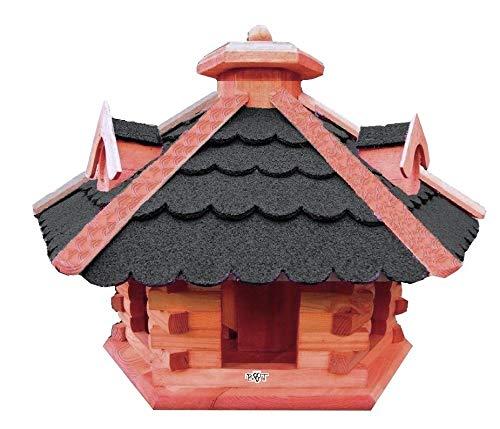 BTV BG50-BTVatOS Vogelhaus Holz mit Futtersilo, Bitumen-Dach schwarz, braun lasiert