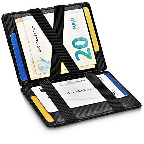 GenTo® Magic Wallet Monte Carlo - TÜV geprüfter RFID, NFC Schutz - Dünne magische Geldbörse ohne Münzfach - Geschenk für Damen und Herren - erhältlich in 3 Farben | Design Germany (Carbon) -