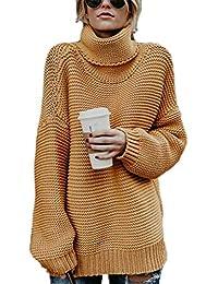 Huateng Señoras de Las Mujeres Caliente Chunky Knit Jersey de Punto Otoño Invierno de Manga Larga Plain Sweater Baggy Grueso Elegante Jersey Jumper