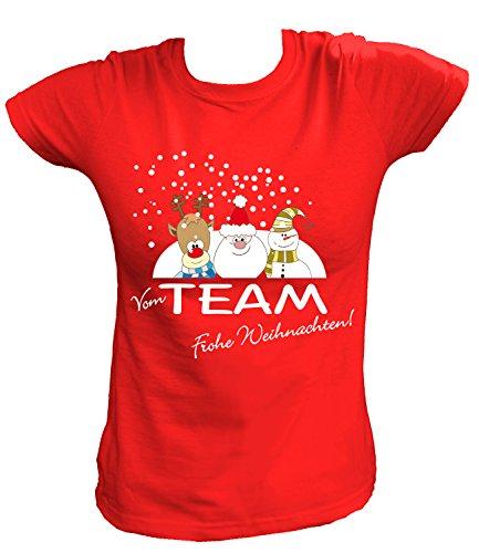 Artdiktat Damen T-Shirt - Vom Team frohe Weihnachten , Größe XXL, rot (Grinch Kostüme Für Kinder)