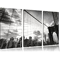Manhattan tramonto effetto disegno a carboncino 3 pezzi immagine immagine tela 120x80 su tela a, XXL enormi immagini completamente Pagina con la barella, stampe d'arte sul murale cornice gänstiger come la pittura o un dipinto ad olio, non un manifesto o un
