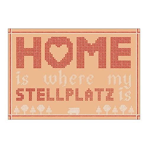 Wenn Nicht Jetzt Postkarte »Home is Where My Stellplatz is« aus dem Set »Wohnmobil-Glück« | XXL-Postkarte (12 x 17,5 cm) | mit Motiv und Spruch zum Thema Camping - als Deko im Camper oder Geschenk - Poster Set Teile