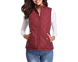 fuinloth Women's Quilted Gilet, Stand Collar Lightweight Zip Padded Vest