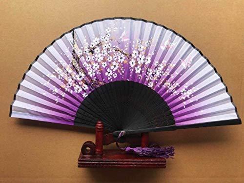 Pour Des Prunes (ZYHMXM Ventilateur pliant, ventilateur Chinois Prune modèle Creux Violet ventilateur en bambou Pour Bureau Salon Chambre décoration murale décoration de Bureau décoration)