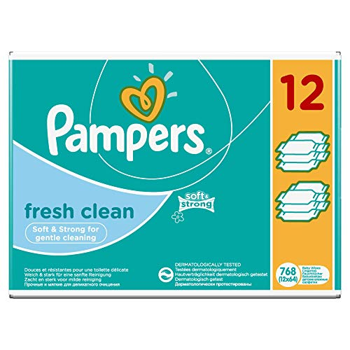 Pampers Fresh Clean Feuchttücher, 2-Monatspack, 768 Tücher (12 x 64 Stück)