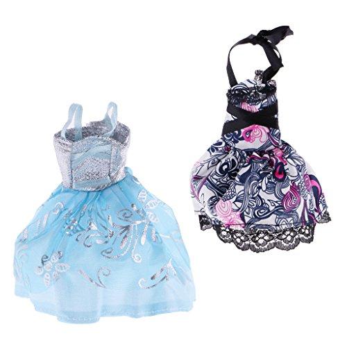 Baoblaze 2 Stück Puppenkleider Spitzenkleid Kleidung Outfit für Monster High Puppe ()
