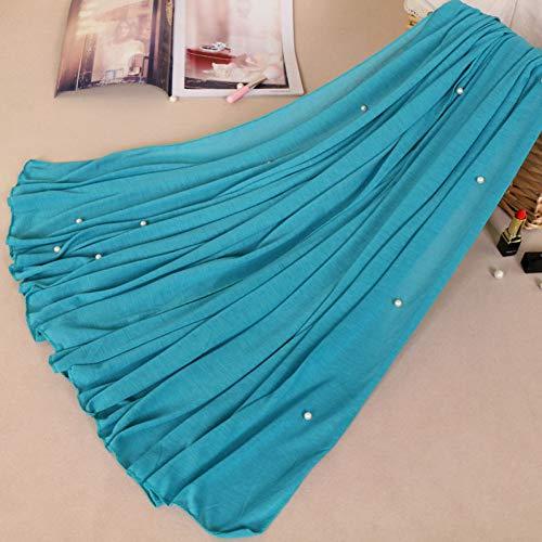 HCJZ Schal Frau Plain Perle Perlen Jersey Hijab Schal Polyester Baumwolle Schal Snood Muslim Kopf Wrap Solide Stola 180 * 80 cm,2 -