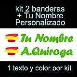 Vinilin Pegatina Vinilo Bandera España + tu Nombre - Bici, Casco, Pala De Padel