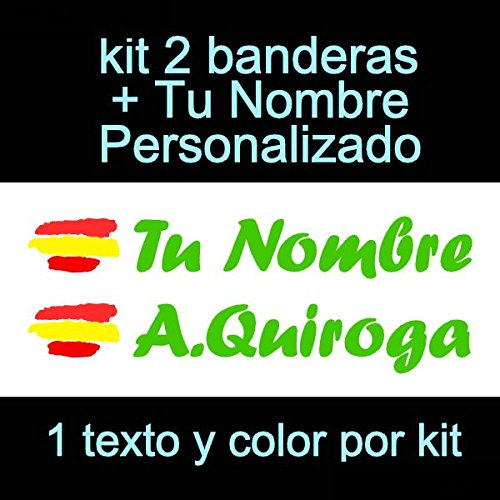 Vinilin Pegatina Vinilo Bandera España + tu Nombre - Bici, Casco, Pala De Padel, Monopatin, Coche, Moto, etc. Kit de Dos Vinilos (Verde)