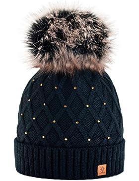 Morefaz - Gorro de invierno para mujer, decorado con cristales brillantes, con pompón, de lana, de estilo esquí...