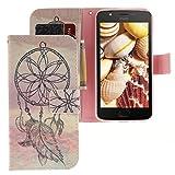 Motorola Moto E4 Hülle, CLM-Tech Tasche aus Kunstleder Wallet Case - Schutzhülle mit Standfunktion und Kartenfach Flip Cover - Bookstyle Handy Flipcase Traumfänger rosa grau, Motorola Moto E4 Handytasche
