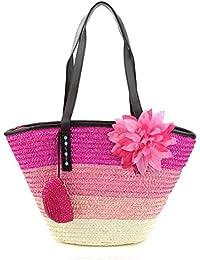 Bolso de hombro de paja para mujer Bolso de playa de tejer de color de maletín Floral tejido de ocio femenino de viaje Bolso de playa de verano , rose red