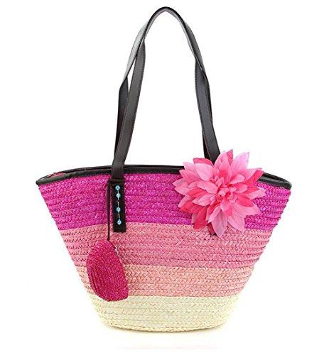 Borsa a tracolla di spaghetti da donna Borsa a maglia di spiaggia di Tote da spiaggia tessuto floreale femminile Borsa da spiaggia estate , rose red rose red